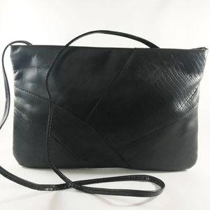 Vintage Black Patchwork Leather Shoulder Bag